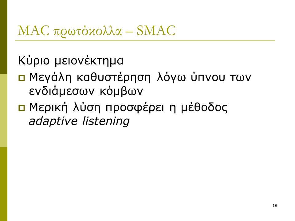 MAC πρωτόκολλα – SMAC Κύριο μειονέκτημα
