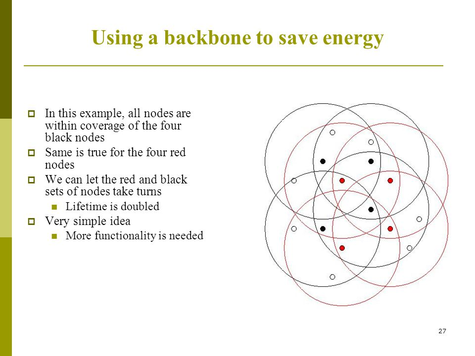 Using a backbone to save energy