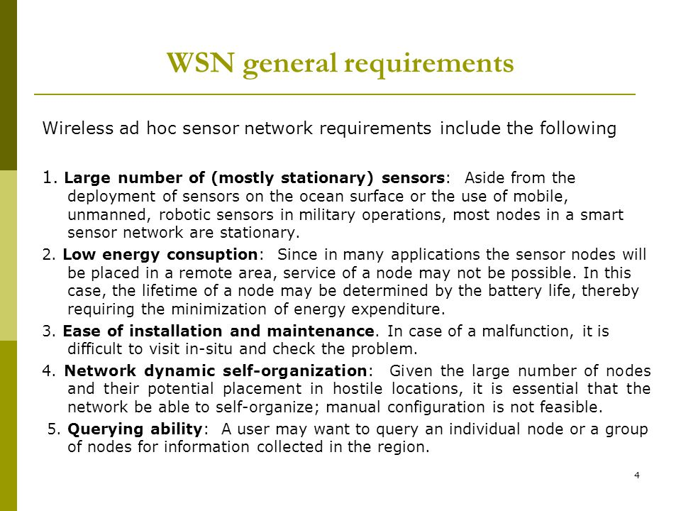 WSN general requirements