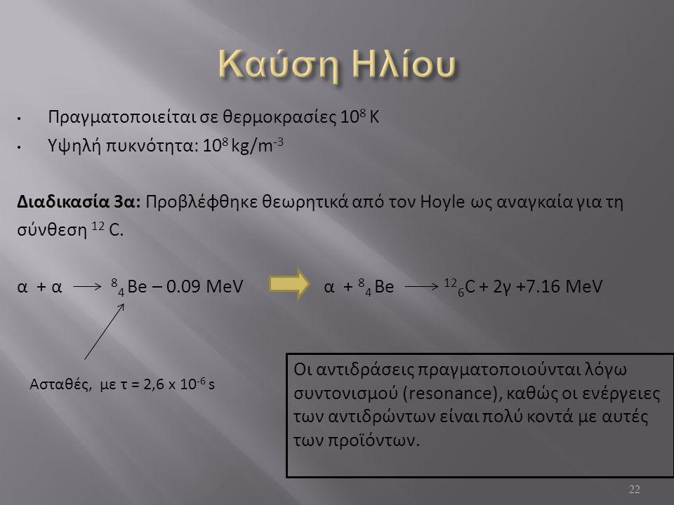 Καύση Ηλίου Πραγματοποιείται σε θερμοκρασίες 108 Κ