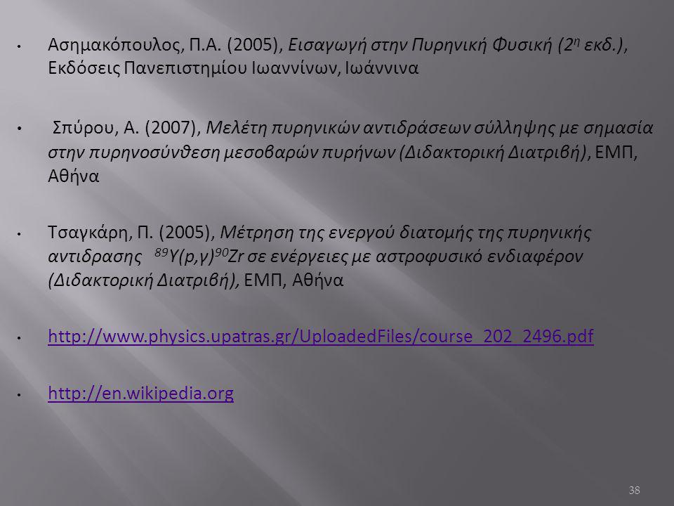 Ασημακόπουλος, Π. Α. (2005), Εισαγωγή στην Πυρηνική Φυσική (2η εκδ