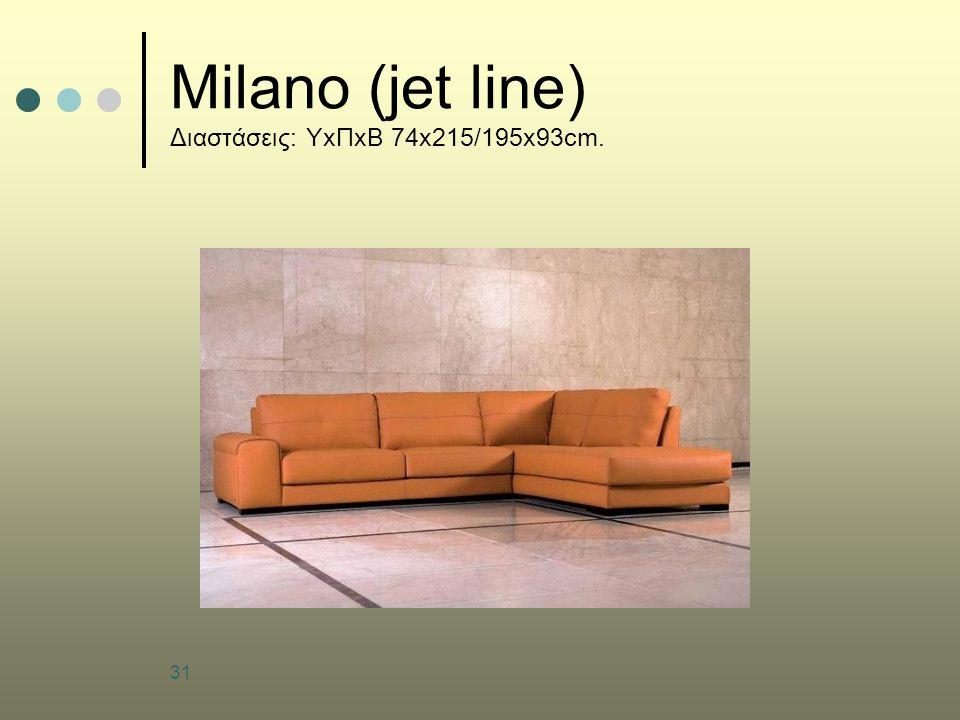 Milano (jet line) Διαστάσεις: ΥxΠxΒ 74x215/195x93cm.