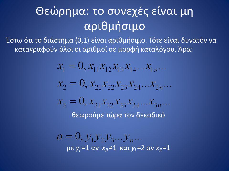 Θεώρημα: το συνεχές είναι μη αριθμήσιμο