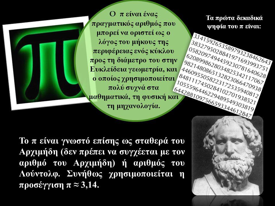 Τα πρώτα δεκαδικά ψηφία του π είναι: