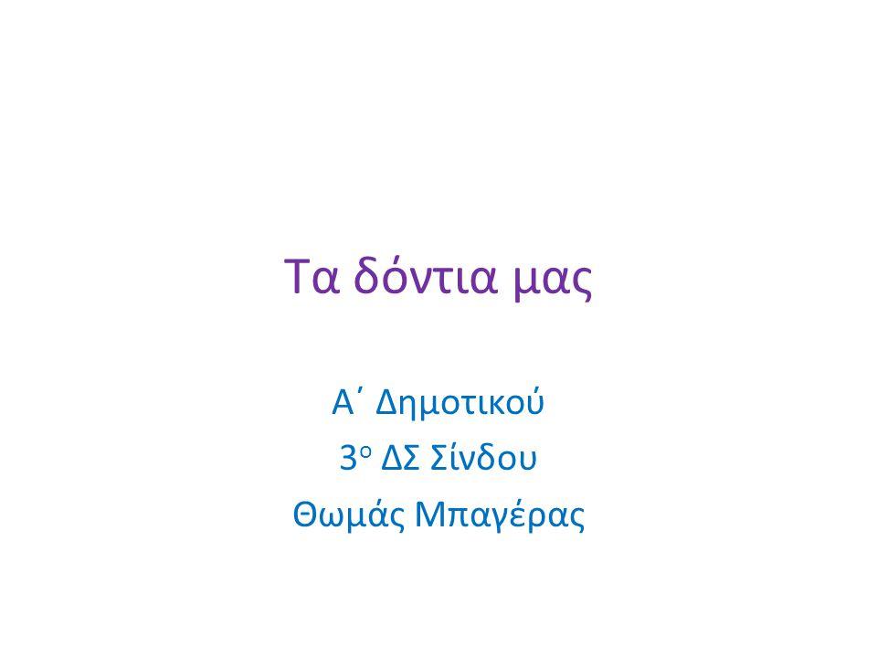 Α΄ Δημοτικού 3ο ΔΣ Σίνδου Θωμάς Μπαγέρας