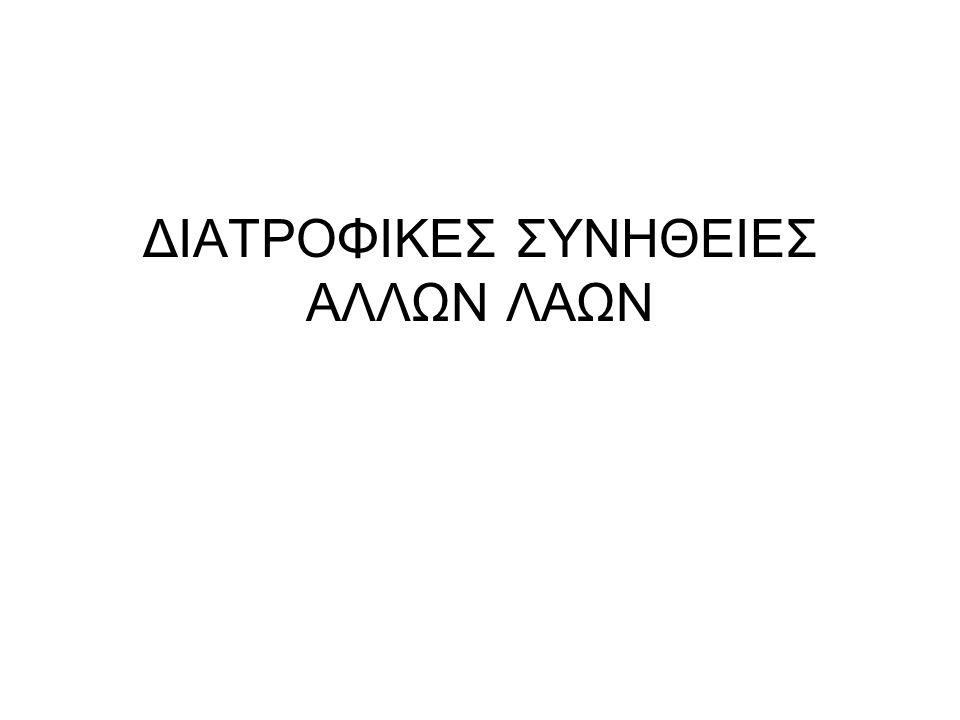 ΔΙΑΤΡΟΦΙΚΕΣ ΣΥΝΗΘΕΙΕΣ ΑΛΛΩΝ ΛΑΩΝ