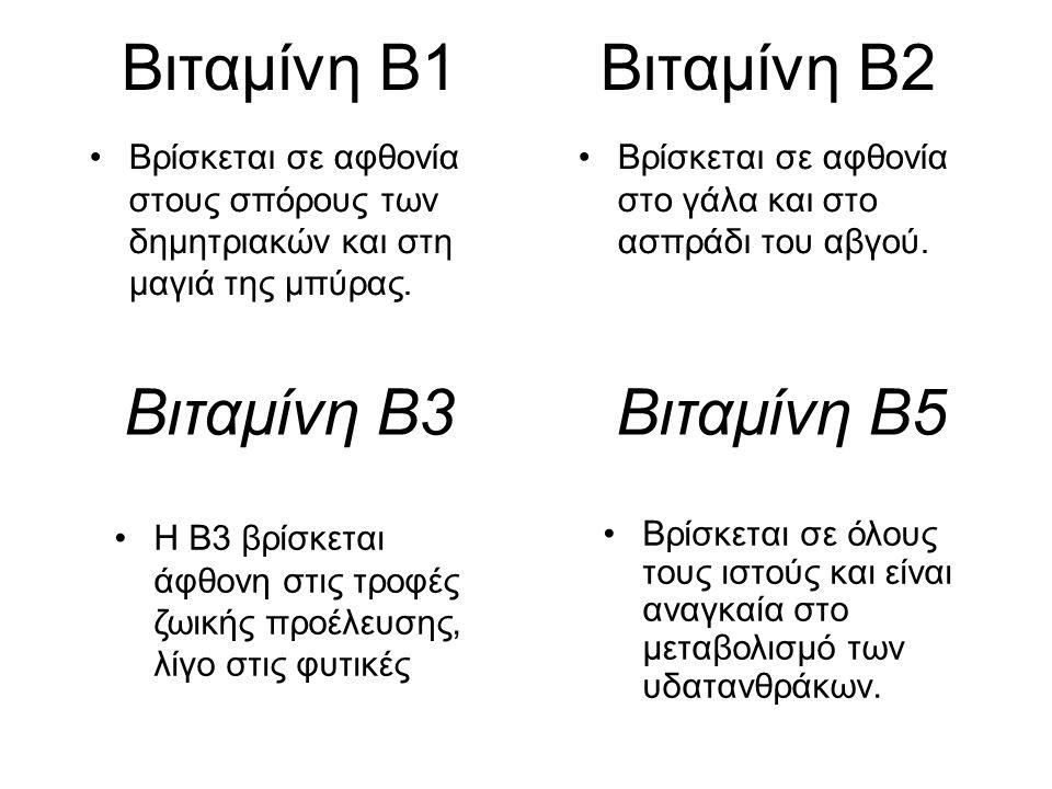 Βιταμίνη Β1 Βιταμίνη Β2 Βιταμίνη Β3 Βιταμίνη Β5