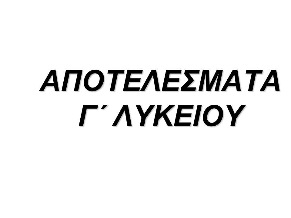 ΑΠΟΤΕΛΕΣΜΑΤΑ Γ΄ ΛΥΚΕΙΟΥ
