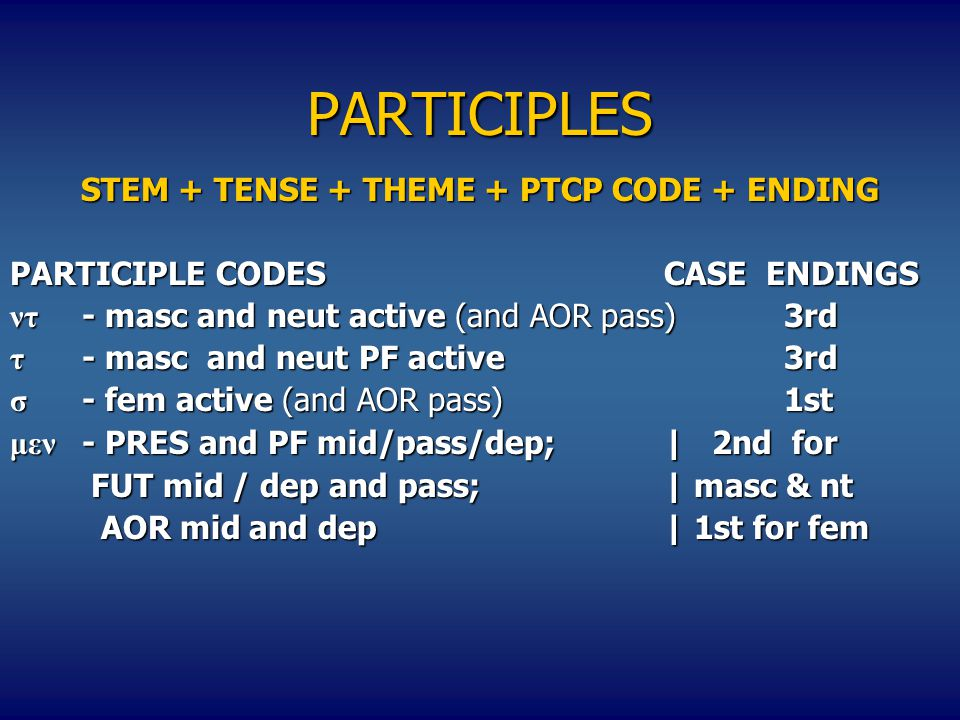 STEM + TENSE + THEME + PTCP CODE + ENDING