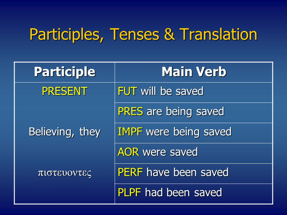 Participles, Tenses & Translation