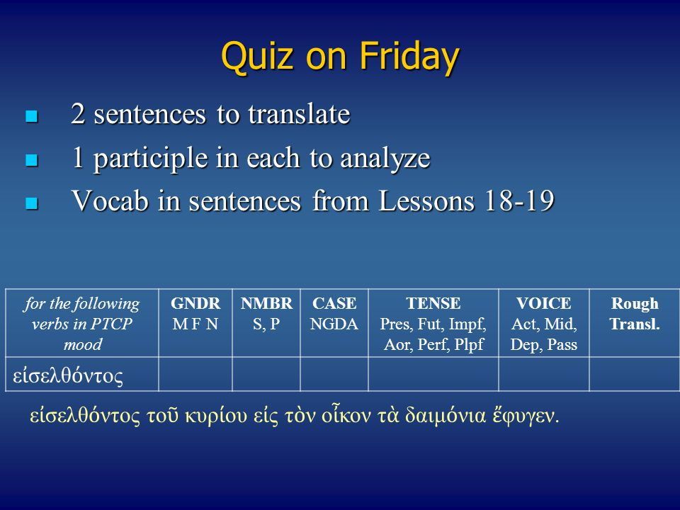 Quiz on Friday 2 sentences to translate
