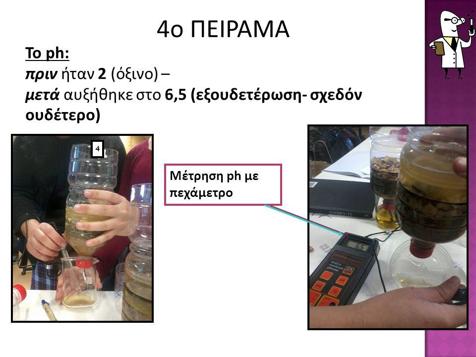 4ο ΠΕΙΡΑΜΑ Το ph: πριν ήταν 2 (όξινο) – μετά αυξήθηκε στο 6,5 (εξουδετέρωση- σχεδόν ουδέτερο) 4.