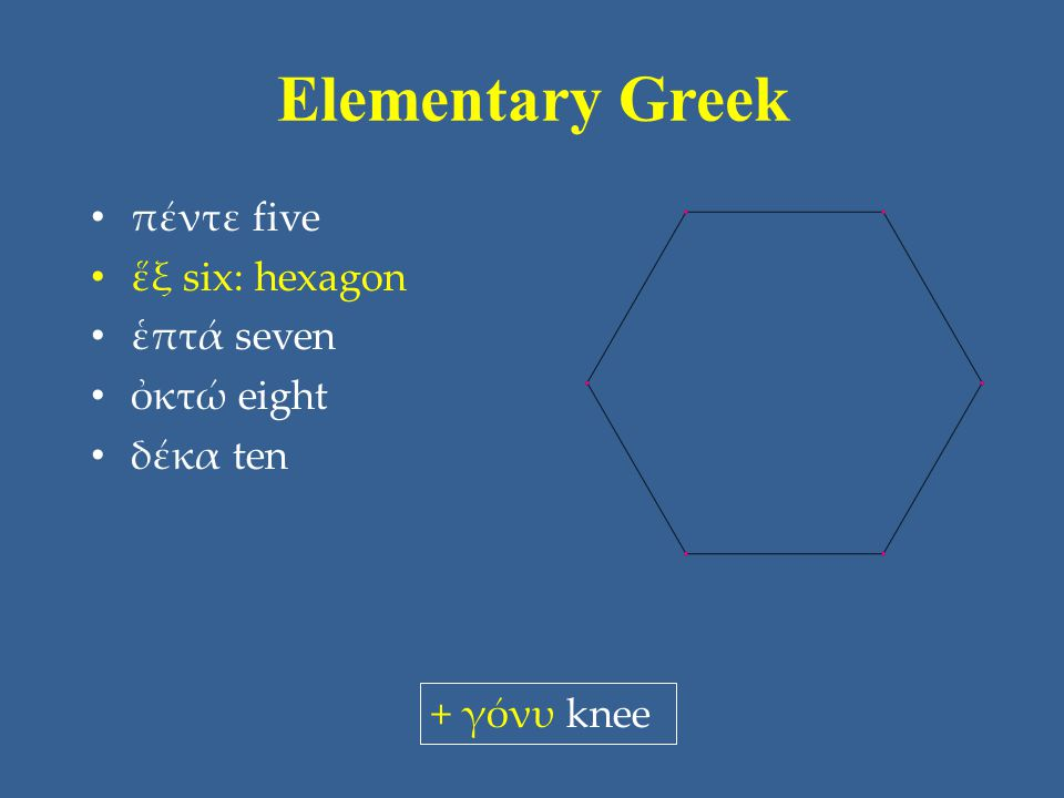 Elementary Greek πέντε five ἕξ six: hexagon ἑπτά seven ὀκτώ eight