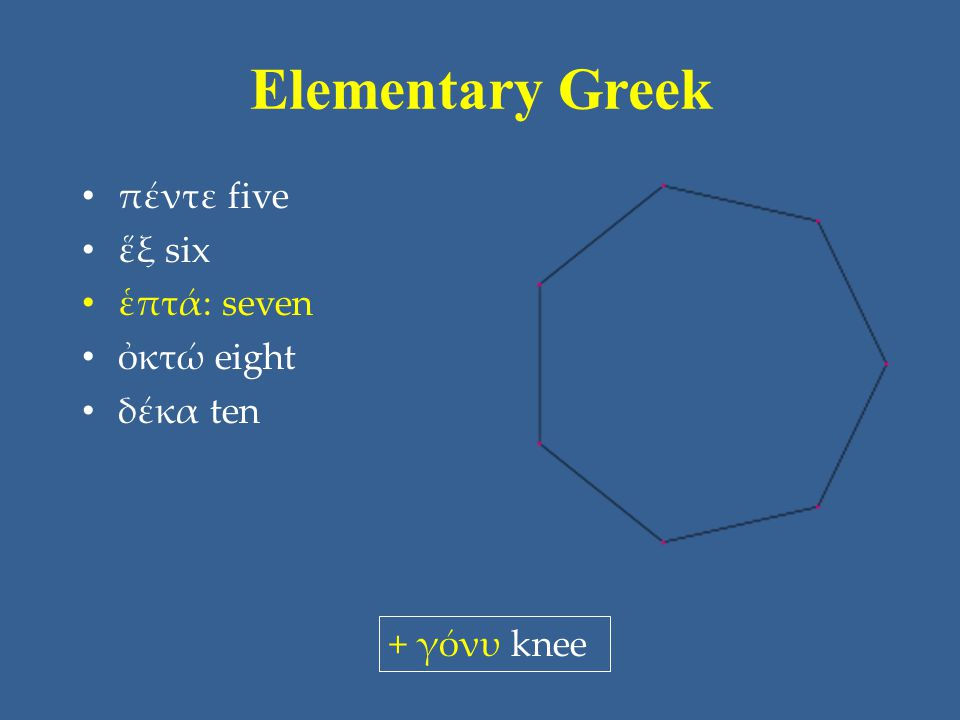 Elementary Greek πέντε five ἕξ six ἑπτά: seven ὀκτώ eight δέκα ten