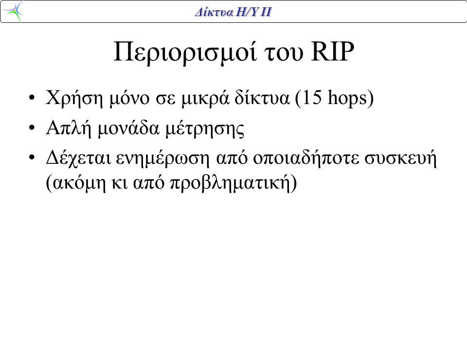 Περιορισμοί του RIP Χρήση μόνο σε μικρά δίκτυα (15 hops)