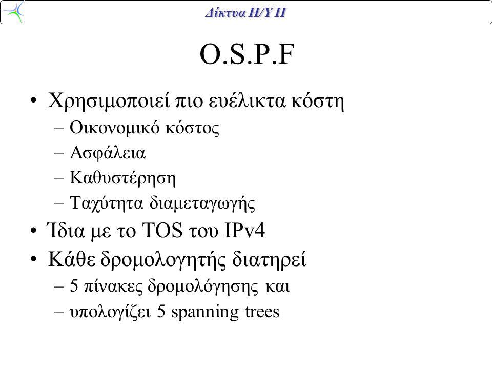 O.S.P.F Χρησιμοποιεί πιο ευέλικτα κόστη Ίδια με το TOS του IPv4