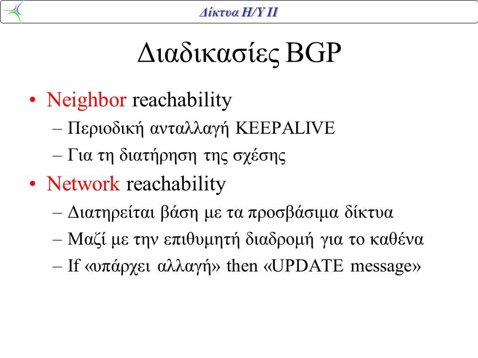 Διαδικασίες BGP Neighbor reachability Network reachability