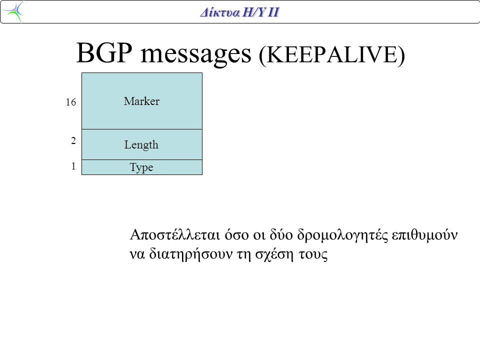BGP messages (KEEPALIVE)