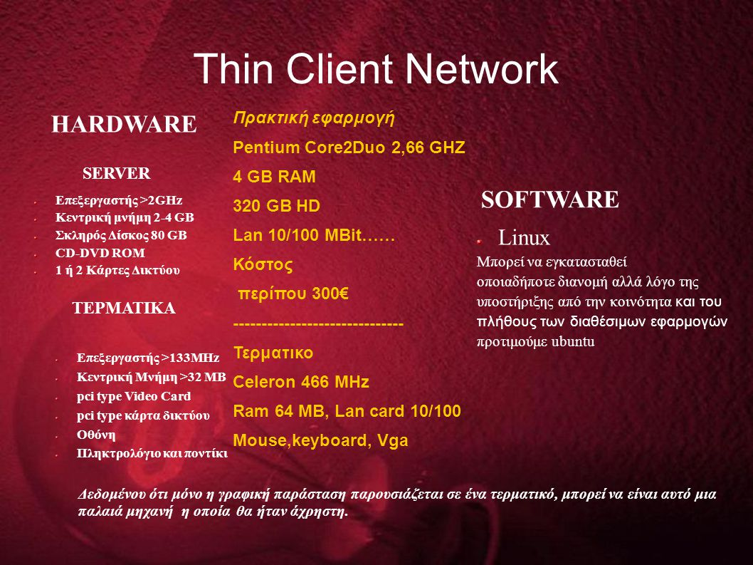 Τhin Client Network HARDWARE SOFTWARE Linux Πρακτική εφαρμογή