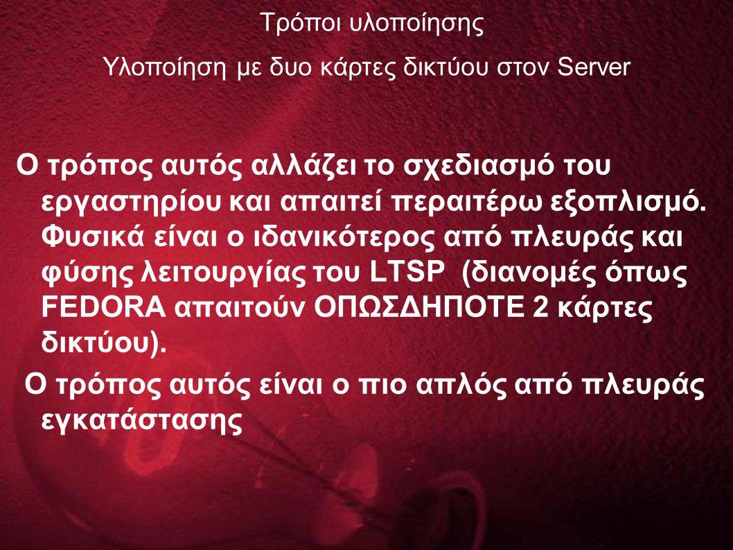 Υλοποίηση με δυο κάρτες δικτύου στον Server