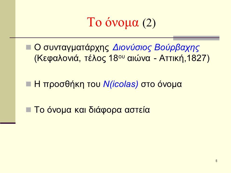 Το όνομα (2) Ο συνταγματάρχης Διονύσιος Βούρβαχης (Κεφαλονιά, τέλος 18ου αιώνα - Αττική,1827) Η προσθήκη του N(icolas) στο όνομα.