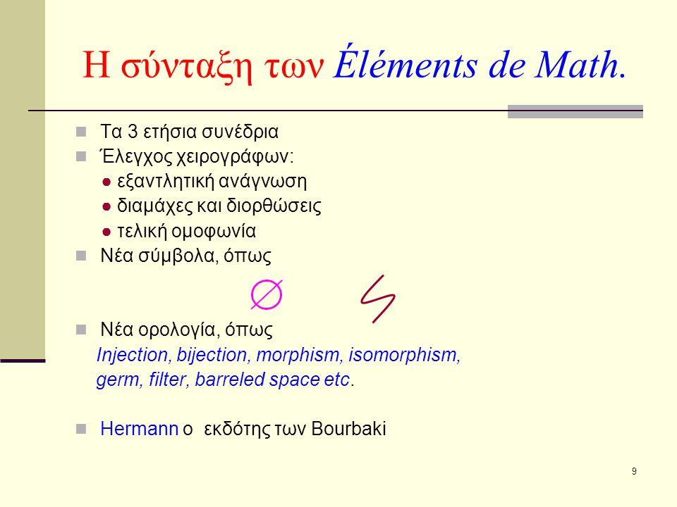 Η σύνταξη των Éléments de Math.