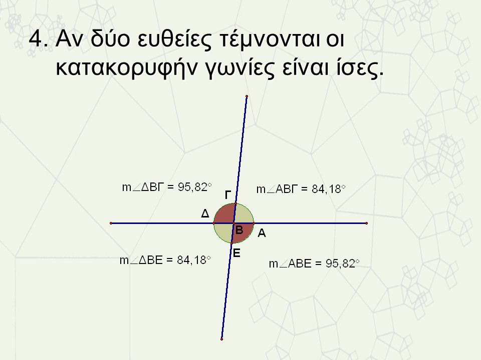 4. Αν δύο ευθείες τέμνονται οι κατακορυφήν γωνίες είναι ίσες.