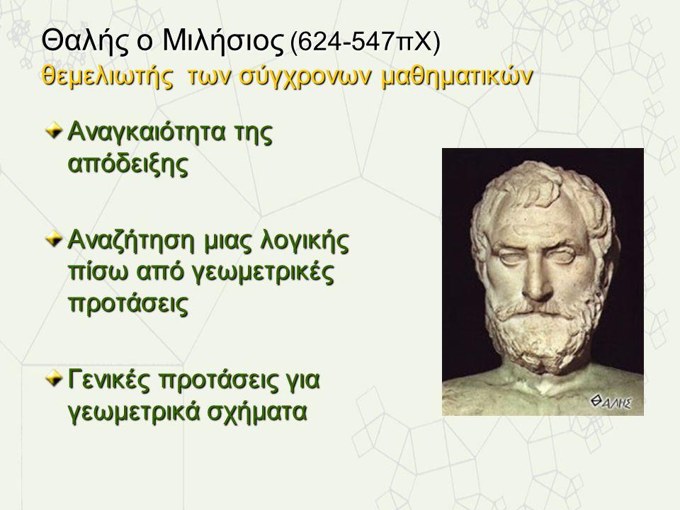 Θαλής ο Μιλήσιος (624-547πΧ) θεμελιωτής των σύγχρονων μαθηματικών