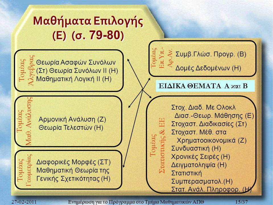 Μαθήματα Επιλογής (Ε) (σ. 79-80)