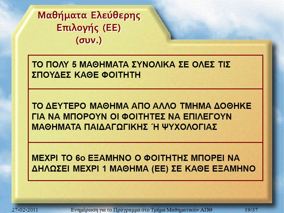 Μαθήματα Ελεύθερης Επιλογής (ΕΕ) (συν.)
