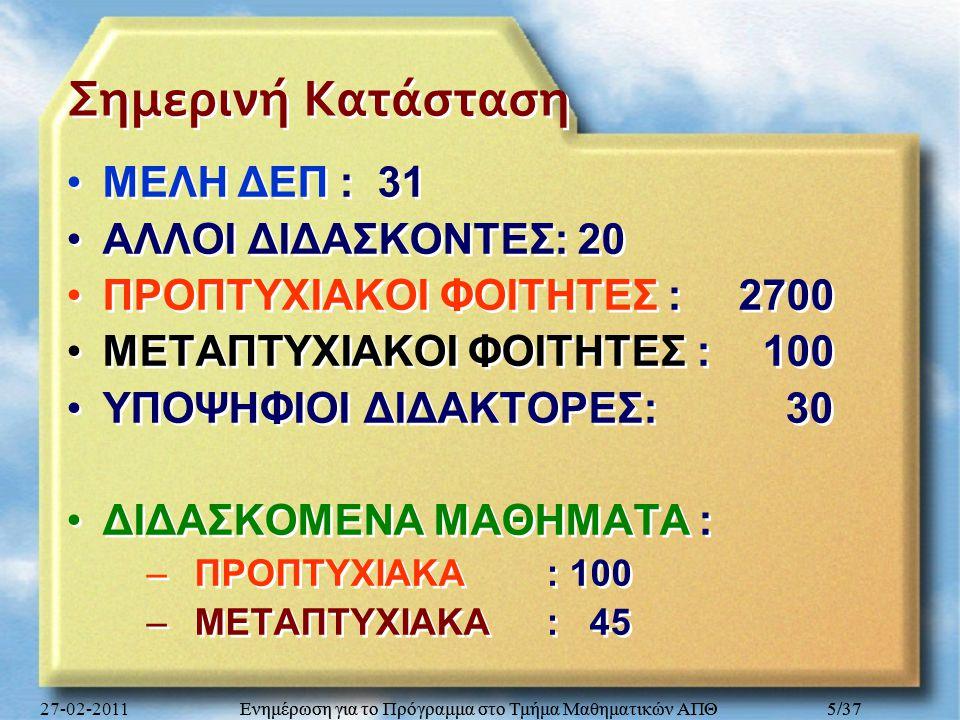 Σημερινή Κατάσταση ΜΕΛΗ ΔΕΠ : 31 ΑΛΛΟΙ ΔΙΔΑΣΚΟΝΤΕΣ: 20