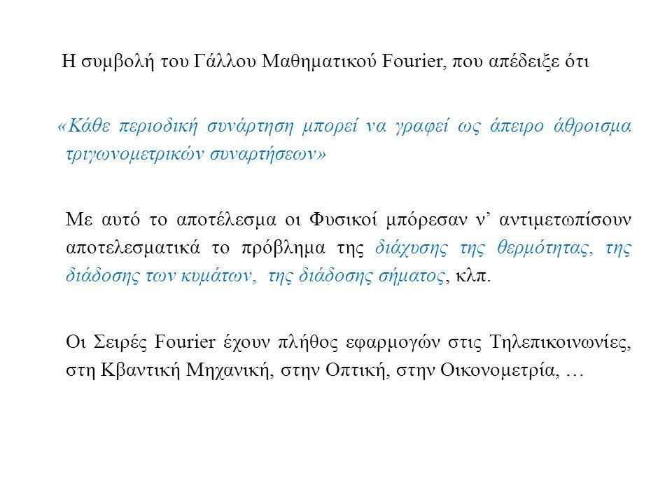 Η συμβολή του Γάλλου Μαθηματικού Fourier, που απέδειξε ότι