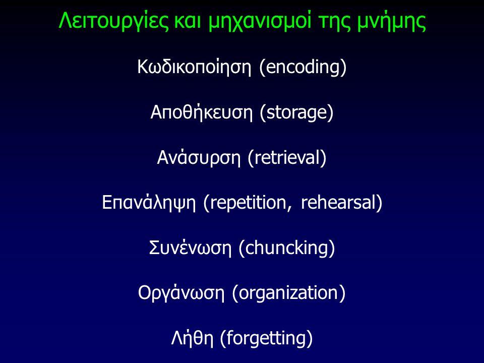 Λειτουργίες και μηχανισμοί της μνήμης