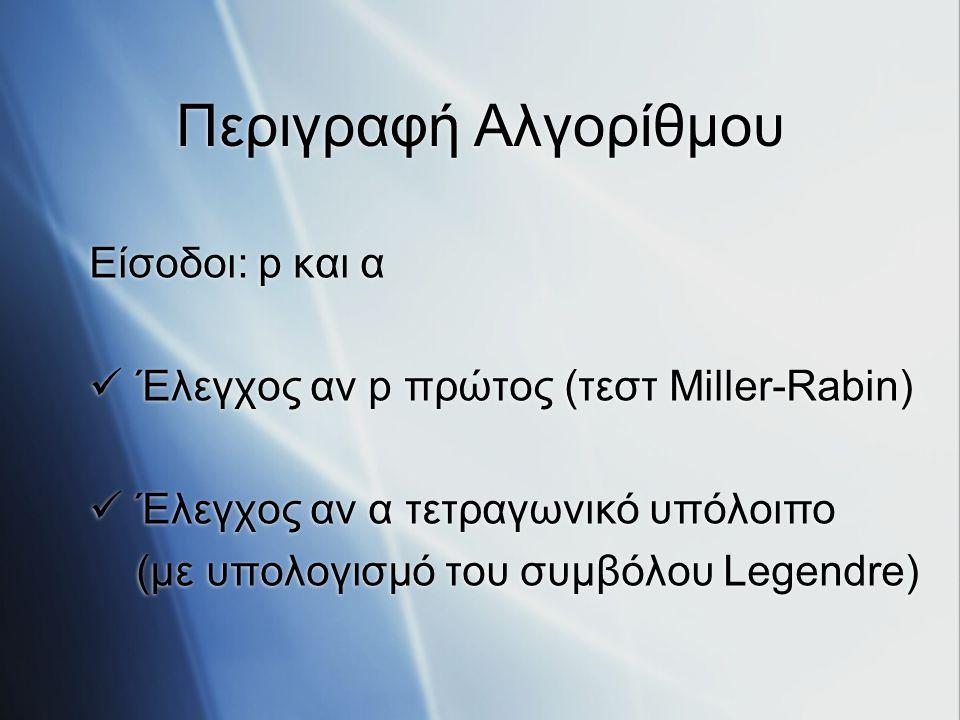 Περιγραφή Αλγορίθμου Είσοδοι: p και α