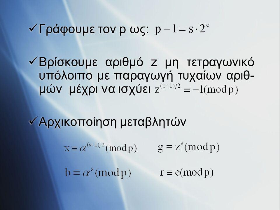 Γράφουμε τον p ως: Βρίσκουμε αριθμό z μη τετραγωνικό υπόλοιπο με παραγωγή τυχαίων αριθ-μών μέχρι να ισχύει.