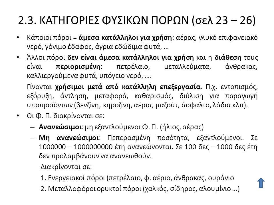 2.3. ΚΑΤΗΓΟΡΙΕΣ ΦΥΣΙΚΩΝ ΠΟΡΩΝ (σελ 23 – 26)