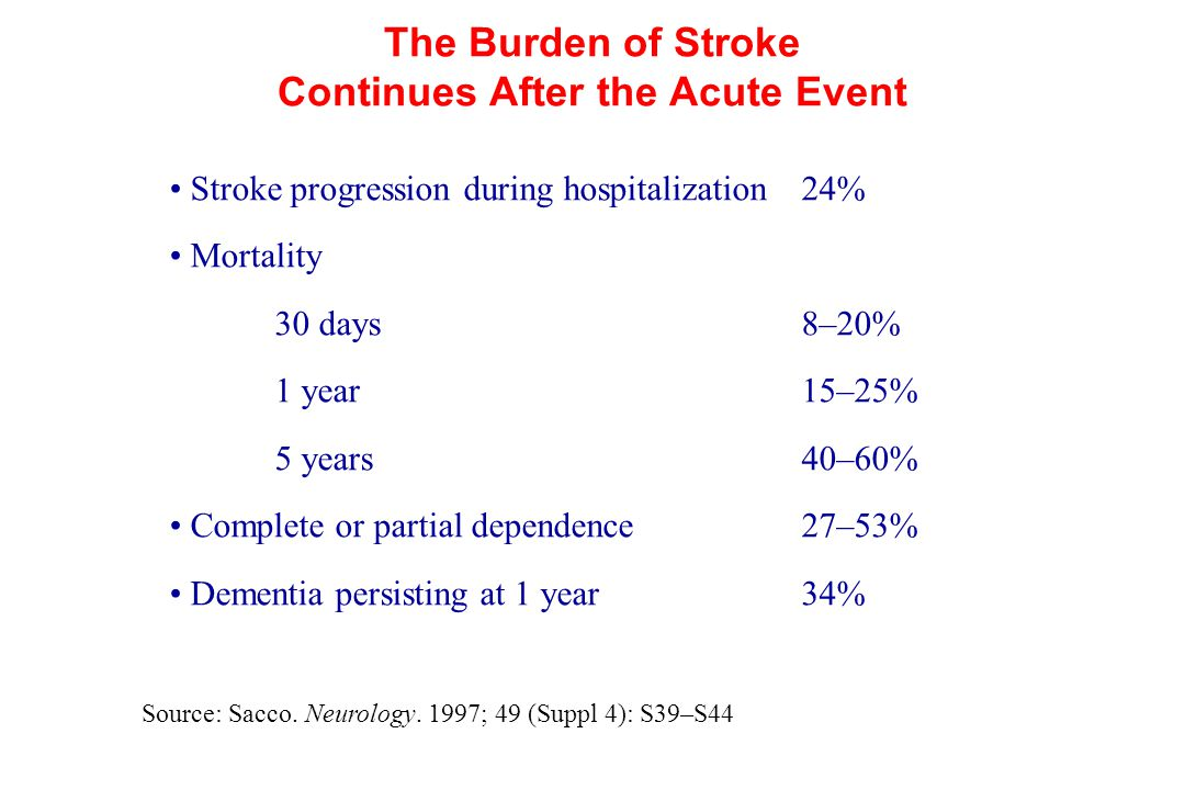 The Burden of Stroke Continues After the Acute Event