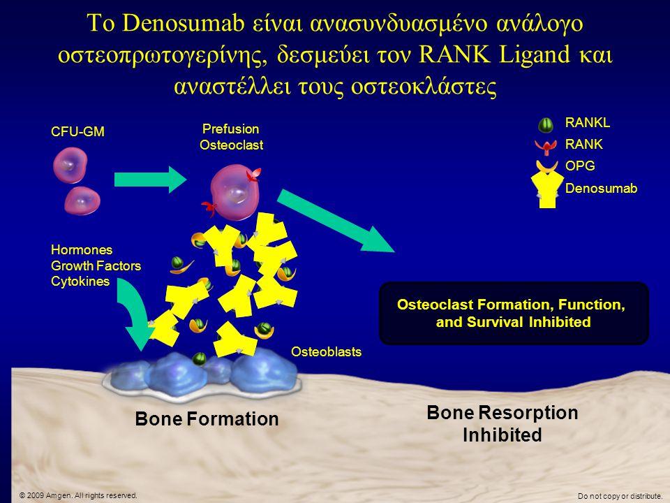 Το Denosumab είναι ανασυνδυασμένο ανάλογο οστεοπρωτογερίνης, δεσμεύει τον RANK Ligand και αναστέλλει τους οστεοκλάστες