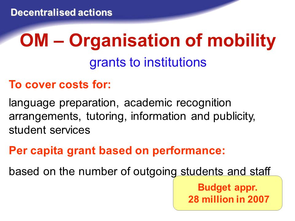 OM – Organisation of mobility