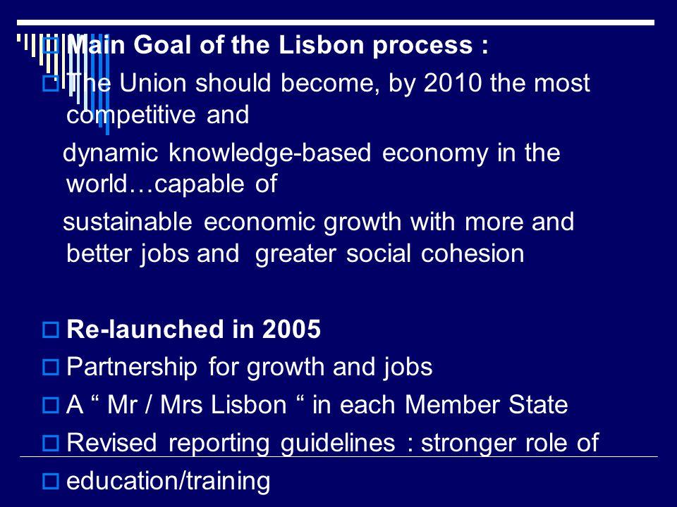 Main Goal of the Lisbon process :