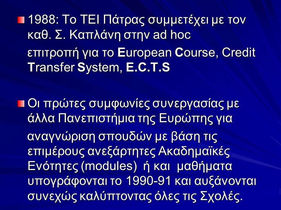 1988: Το ΤΕΙ Πάτρας συμμετέχει με τον καθ. Σ. Καπλάνη στην ad hoc