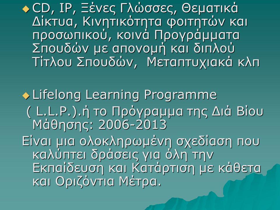 CD, IP, Ξένες Γλώσσες, Θεματικά Δίκτυα, Κινητικότητα φοιτητών και προσωπικού, κοινά Προγράμματα Σπουδών με απονομή και διπλού Τίτλου Σπουδών, Μεταπτυχιακά κλπ