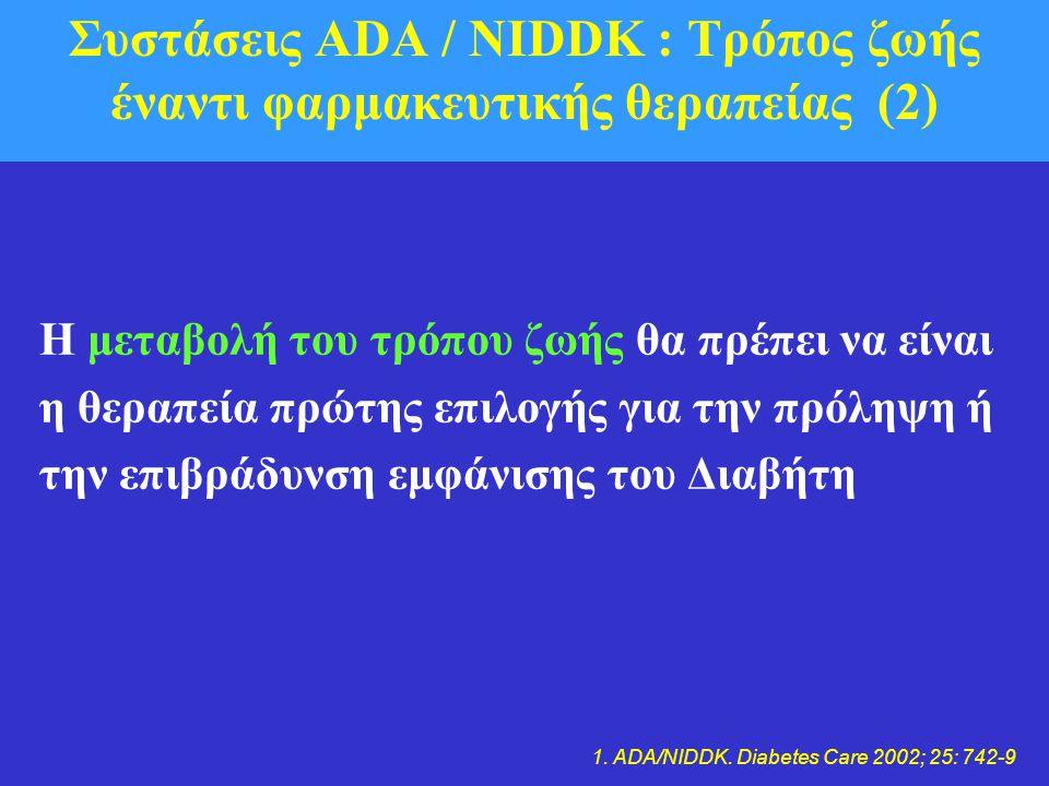 Συστάσεις ADA / NIDDK : Τρόπος ζωής έναντι φαρμακευτικής θεραπείας (2)