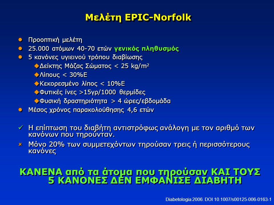 Μελέτη EPIC-Norfolk Προοπτική μελέτη. 25.000 ατόμων 40-70 ετών γενικός πληθυσμός. 5 κανόνες υγιεινού τρόπου διαβίωσης.