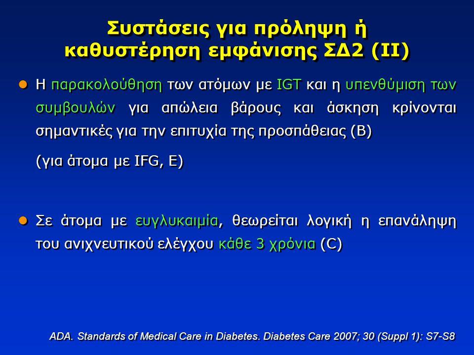 Συστάσεις για πρόληψη ή καθυστέρηση εμφάνισης ΣΔ2 (ΙΙ)