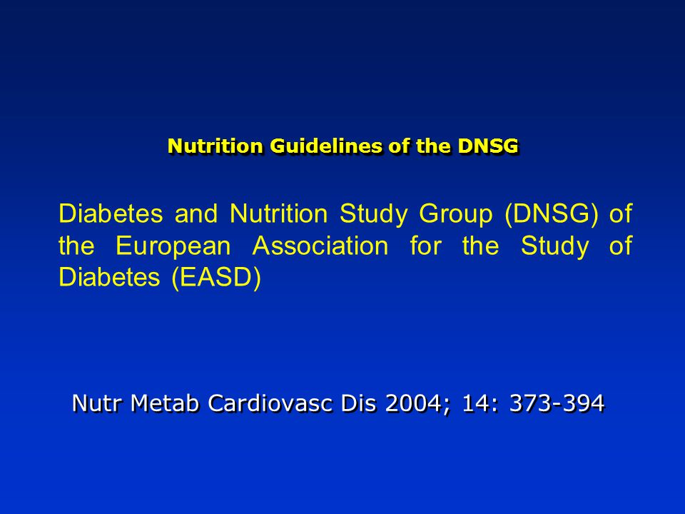 Nutrition Guidelines of the DNSG
