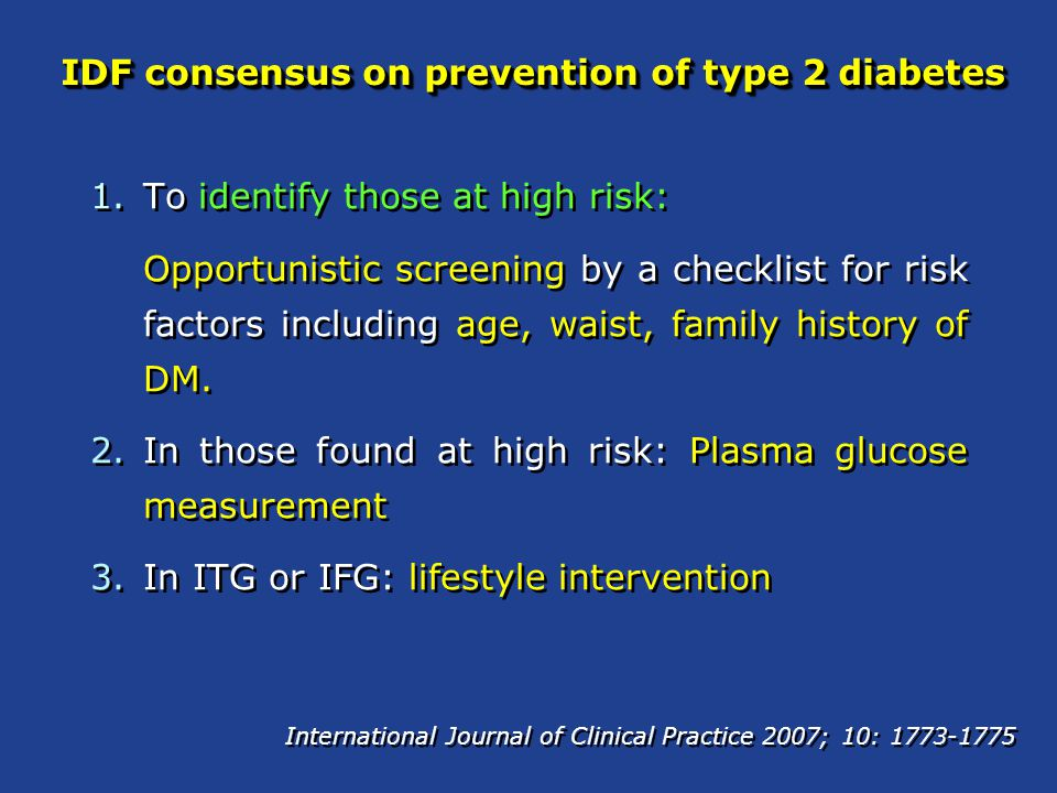 IDF consensus on prevention of type 2 diabetes