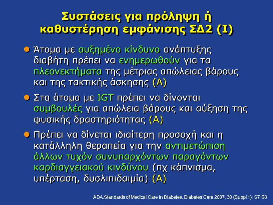 Συστάσεις για πρόληψη ή καθυστέρηση εμφάνισης ΣΔ2 (Ι)
