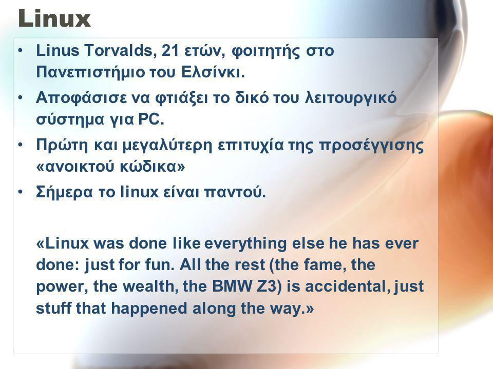 Linux Linus Torvalds, 21 ετών, φοιτητής στο Πανεπιστήμιο του Ελσίνκι.