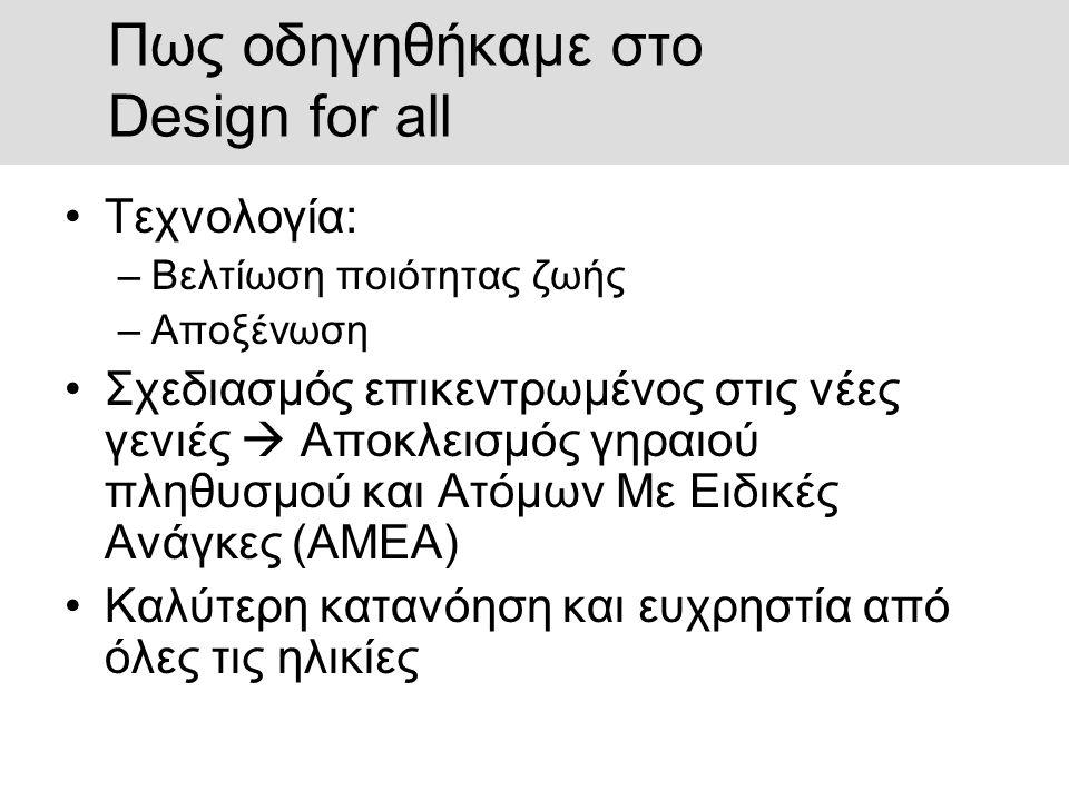 Πως οδηγηθήκαμε στο Design for all